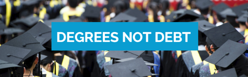 Degrees Not Debt, graduation caps