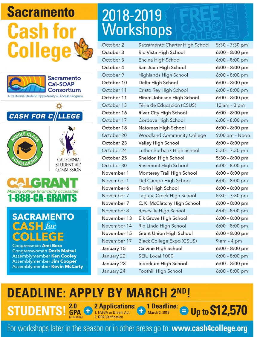 Cash for College Workshops 2018-19 Flyer