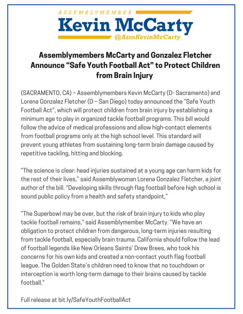 Safe Youth Football Act  >> Assemblymembers Mccarty And Gonzalez Fletcher Announce Safe Youth