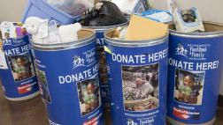Donation barrels at event