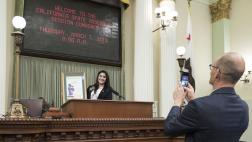 Assemblymember McCarty Takes a Photo of Woman of the Year Basira Alam