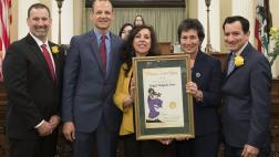 Assemblymember McCarty and AD 07 Woman of the Year, Peggy Delgado Fava with Speaker Rendon, Assemblymember Eggman, and Assemblymember Brian Dahle