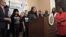 Use of force advocate Ellie Virrueta speaks at Assemblymember McCarty's AB 392 press conference.